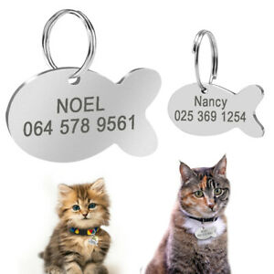 Personalised Cat ID Tag Cute Fish Shaped Pet Name Collar Disc Engrave for Kitten