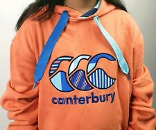 CANTERBURY UGLIES sz S Mens Solid Orange Embroidered Logo Front Hoodie Jumper