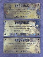 Vintage Akervick Brothers Brass Nautical Boat Ship Repair Nameplate Sign Seattle