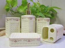 New -Bathroom Set- 5 Piece Ceramic-White background- Patterned Top Edge