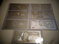 LOT OF 7* SILVER BILLS $1-2-5-10-20-50-100 DOLLAR SET& EACH IN HARD BILL HOLDER