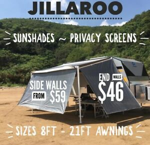 JILLAROO Caravan Privacy Screen, Sun Shade, Sunscreen for 13FT Awning GREY