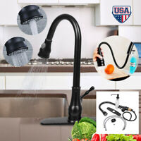 Kitchen Sink Faucet Pull Out Sprayer Mixer Tap Deck Mount Oil Rubbed Bronze
