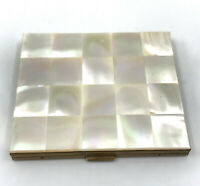 Marhill USA Mother of Pearl MOP Powder Compact 1950s Label Puff Vintage
