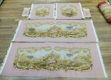 Royal Palace Luxury AUBUSSON Hand Woven SILK WOOL Sofa Chair Cover Floral Pink