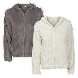 Womens Ladies Full-Zip Cosy Fleece Hoodie Grey Cream Hooded Top Sweater S M L XL
