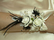 LADIES WRIST CORSAGE IN IVORY AND BLACK, WEDDING FLOWERS,BRIDAL