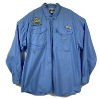 COLUMBIA PFG Men's Blue L/S Button Up Embroidered Redfish Fishing Shirt Sz XL