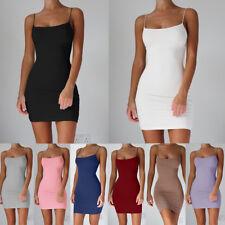 Sexy Women Solid Strap Sleeveless Stretchy Hip Bodycon Mini Short Club Dresses