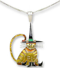 "Zarah POINTY HAT CAT Necklace & Pin COMBO 18"" Silver Plated Chain Halloween Fall"