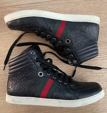 Gucci Mens Trainers Sneaker High Top Black Leather Shoes - misura 9 - ORIGINALI