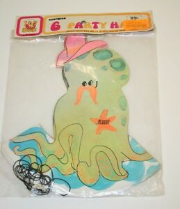 Nice Vintage 1970s 6 Kids Birthday Party Hats NIP MIP Fun Mustache Octopus Rare