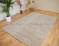 SMALL - LARGE NATURAL MIX BEIGE & IVORY THICK NON SHEDDING SHAGGY TWO TONE RUG