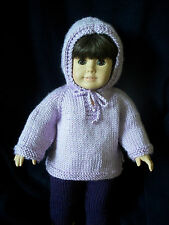 "18"" Doll Knitting Pattern fits American Girl Top Down Hoodie / Hooded Sweater"