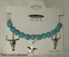 FAUX TURQUOISE BEAD  COWGIRL STARS & STEERS STRETCH CHARM BRACELET