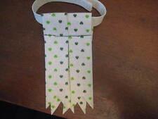 White fabric with kelly green shamrocks Highland Dress Sock Flashes Flash