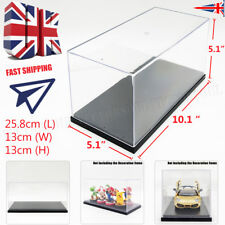 UK Clear Display Box Acrylic Case Plastic Base Protection Toy Dustproof 26x13x13