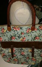 Recycled Canvas and leather Floral Handbag Tote Bag So Cute!