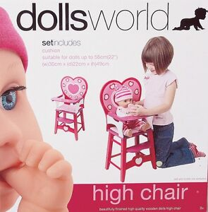 NEW Dolls World Wooden High Chair from Mr Toys