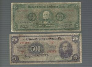 Costa Rica ✨ 5 & 500 Colones 2 banknotes✨ Collections & Lots #513