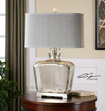 "28"" MERCURY GLASS & PLATED METAL NICKEL TABLE LAMP LINEN SHADE READING LIGHT"
