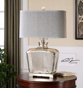 "MODERN 28"" MERCURY GLASS BRUSHED NICKEL METAL TABLE LAMP UTTERMOST"