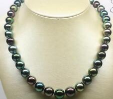 """18""""10-11MM TAHITIAN BLACK MULTICOLOR ROUND PEARL NECKLACE"""