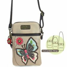 NEW CHALA BUTTERFLY TAN BROWN CELL PHONE CROSSBODY PURSE ADJUSTABLE STRAP