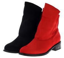 Neu Damen Schlupf Stiefeletten Stiefel Boots Booty Gr. 36-41 Schwarz Rot 15950
