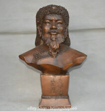 "18"" Famous Chinese Bronze Genghis Khan Jenghiz Khan militarist Head Bust Statue"