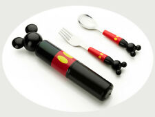 3pc/set Baby Stainless Steel Fork Spoon Box Set Child Mickey Mouse Tableware
