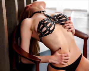 Sexy Women Goth Lingerie Leather Halter Neck Body Harness Bondage Cage Bra #6007