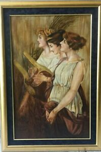 Three Classical Maidens Beauties - Nymph Beauty Lady Art Nouveau