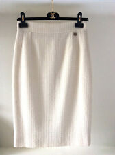 CHANEL OFF WHITE WOOL CC  BUTTON SKIRT SZ 40