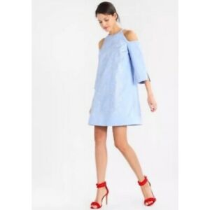 Ted Baker cold Shoulder Cotton-Rich Dress, Baby Blue 430$ size 4 L
