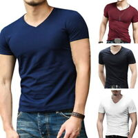 Men Summer Tee Shirt Slim Fit V Neck Short Sleeve Muscle Casual Tops T-Shirts //