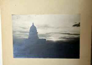"9"" Vintage Black White B/W Photo John Mead Building Tower View Sunset Sky Art"