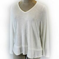 Madewell Plus Size Soft White V-Neck Long Sleeve Blouse Top Shirt 3X