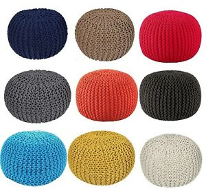 NEW 100% COTTON KNITTED POUFFE LARGE CHUNKY FOOT STOOLS SEAT CUSHION BEANS 50CM