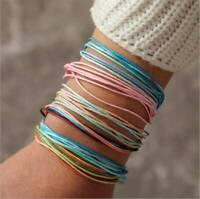 6Pcs/Set Boho Ethnic Handmade Multicolor String Cord Woven Braided Bracelet Gift