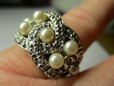 STERLING SILVER ROSS SIMONS FAUX PEARL CUBIC ZIRCONIA LOVERS KNOT RING SIZE 6.5