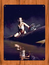 """TIN SIGN """"Stihl Night"""" Calendar Girl Chainsaw Mancave Wall Decor"""