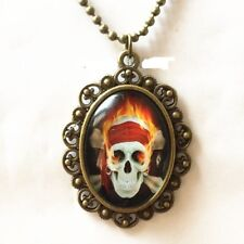 FIRE SKULL UNISEX pendant BRONZE CHAIN necklace PUNK man woman FREE $20 GIFT 4U