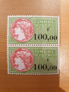 2 timbres fiscaux non oblitérés de 100.00 francs