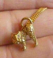 pendentif collier bijoux rétro plaqué or 18k poinçon chat yeux cristal * 3563