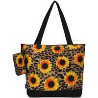 Sunflower Leopard NGIL Canvas Mega Zip Top Shopping Utility Tote Bag Free Ship