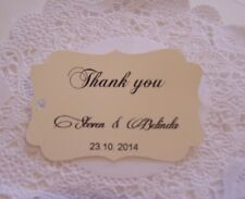 Wedding personalized'Thank you'Names,date only,vanilla Pk-20,30,50,100,150,200