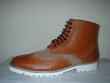 LONDON BROGUES TAN LEATHER/SUEDE BROGUE LIGHT WEIGHT LACE UP BOOTS SIZE 11/45