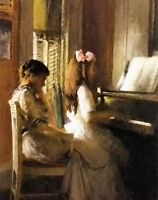 Oil painting joseph rodefer de camp - the music lesson joseph girl playing piano