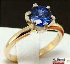 1.30ct Genuine Natural Blue Sapphire Solitaire 14K 14KT Solid Gold Ring
